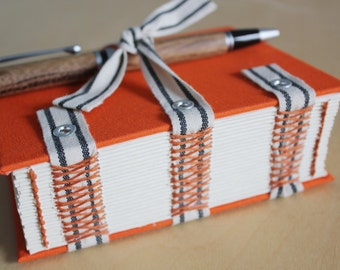 Hard cover journal with coptic corset stitch // exposed spine journal // personal diary