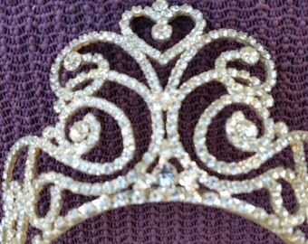 High End  Runway clear Rhinestones Wedding Tiara unsigned  vintage 1950's