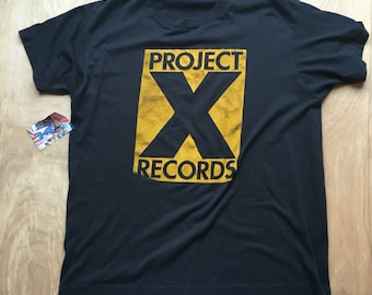 Vintage Project X Records Tshirt / Super thin and soft T Shirt Tee / Black and Yellow Logo Shirt / Record Shop Tee