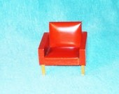 Dollhouse Living Room or Den Chair, Three Quarter Scale, Red Faux Leather