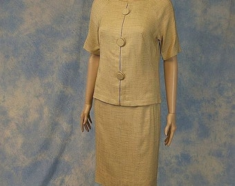 SALE Vintage 50s 60s Designer Linen Skirt Suit, Dress, Sm XS