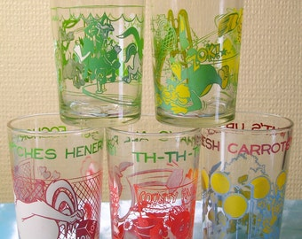 Lot of 5 Bugs Bunny Looney Tunes Toons Jelly Jam Welch's Glasses POP ART - Porky Pig Bugs Bunny Foghorn Leghorn Elmer Sylvester Tweety Bird