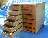 Antique Metal Storage Cabinet with 9 Drawers for shops garage or hobby area