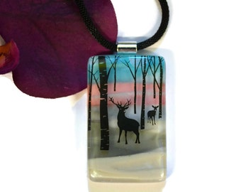 Buck and Doe Necklace, Pendant, Fused Glass, Winter Scene, Dichroic Glass, One of a Kind