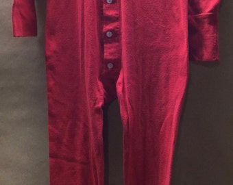 Red Union Suit JC Penney Medium Red Long Johns Vintage Thermals