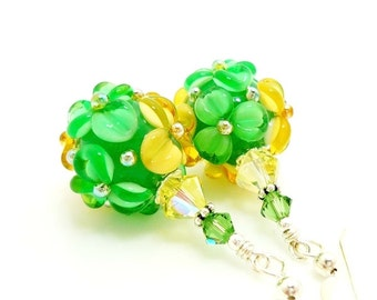 Green Yellow Floral Earrings, Green Earrings, Lampwork Earrings, Glass Bead Earrings, Glass Earrings, Dangle Earrings, Beadwork Earring