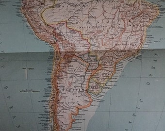 Book pages map of South America color circa 1910. Stunning.11 x  17. Book page suitable for framing. Free shipping.