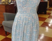40%OFFSALE Vintage 1950s Geometric Day Dress in Grey, Tan and Turquoise.
