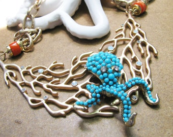 Octopus in Coral Reef Necklace