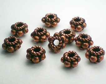 10mm Genuine Copper Beads Solid Copper Spacer Beads Large Hole Bead 8 pcs. GC-345