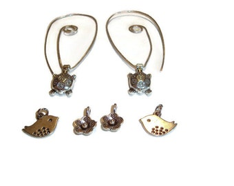 Sterling Silver Earrings with Turtles, Birds and Flowers = wear them with one of the charms or wear them plain - Statement earrings - SRAJD