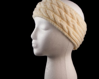 Cream cable knit headband Earwarmer - Ready to ship