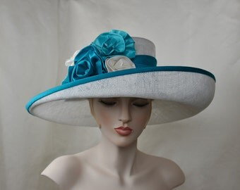 Ladies White Sinamay Asymmetric Hat, Kentucky Derby Hat, Occasion Hat