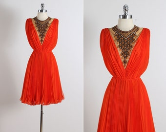 Vintage 60s Dress | Jack Bryan dress | orange crepe chiffon | jeweled bib small | 5821