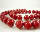 Red Necklace Beaded Red Mountain Jade Necklace Red Gemstone Necklace Silver Red Beaded Necklace Red Bead Necklace Red Strand Necklace