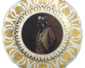 Dr. SteamPunk Portrait - Altered Vintage Plate 9.75""
