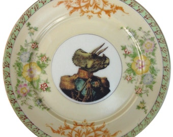 Admiral Triceratops Portrait Plate - Altered Antique Plate 7.4""