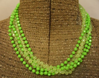 Vintage 1960's  Green Multi Strand Beaded Necklace