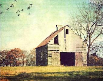 Old Barn photo, Vintage Barn, Rustic art, Americana art print, Farm art, Illinois