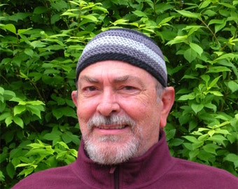 Mens Cotton Cooling Cap™ Crocheted in Big Band Stripes of Armor Gray, Light Gray, and Black