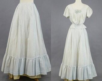 Edwardian Dress, Downton Abbey Pale Blue Cotton Tea Dress, Antique Skirt and Bodice, Gibson Girl, XXS