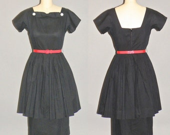 50s Dress, 1950s Black Cotton Day Dress with Peplum Skirt, Small