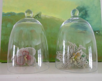 Small cloches or bell jars for greenhouse, nursery, or event - set of three, multiples available