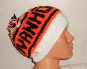 Ivanhoe personalized knit beanie hat hand knitted in white orange black