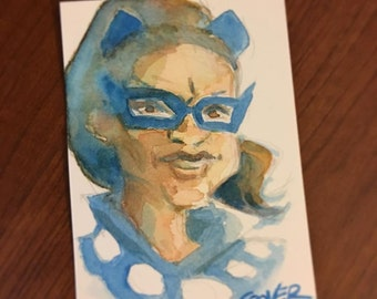 Colleen Coover Sketchcard of Catwoman from Batman 66