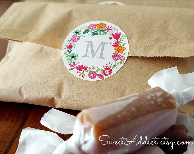 Floral Monogram WEDDING FAVORS - 2 Caramels each - Personalized - Filled with Salted Caramels featured by the Food Network