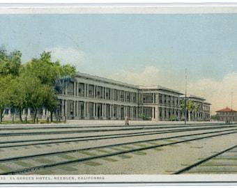 El Garces Hotel Railroad Track Depot Needles California Fred Harvey 1924 postcard
