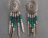 Vintage Southwestern Malachite Stamped Concha Concho Earrings Sterling Silver Dangle Tassel 925 Heshi Bead Jewelry