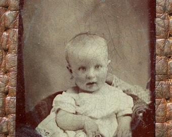 Tintype Baby w/ Rattle & Hidden Mother