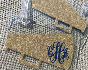 Monogram Cheer Bag Tag Monogrammed Cheer Bag Tag Cheertagz Cheer Bag Tag Bling Megaphone Bag Tag Cheerleading Bag Tag Cheer Party Favor