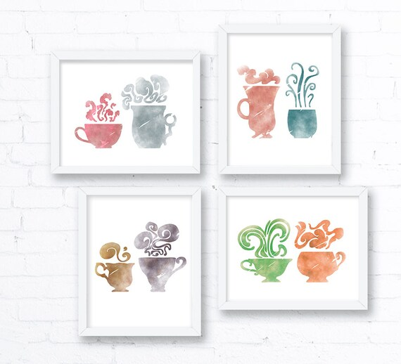 Set Of 3 Coffee Cup Canvas Wraps: Tea Cups Coffee Cups In Watercolor Set Of 4 Art Prints 8x10