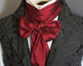 Extra LONG - REGENCY Brummel Victorian Ascot Tie Cravat - Deep Red Dupioni Silk