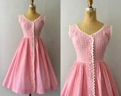 RESERVED LISTING -- 1950s Vintage Dress - 50s Pink Gingham Sundress