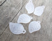 White Frosted Lucite  Leaf Charm/Beads 20pcs. 17mmx11 mm