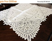 Battenburg Lace, Table Cloth, Small White Tablecloth, Vintage Linen 13100