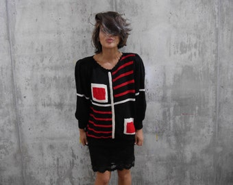 Squares and Strips Vintage Handknit Sweater