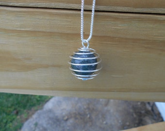 Moss Agate Sphere Cage Pendant Necklace