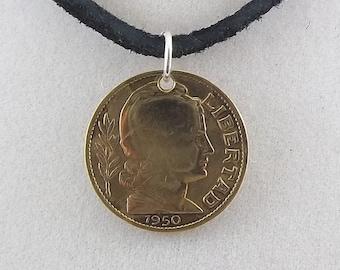 1950 Argentina Coin Necklace, 10 Centavos, Coin Pendant, Mens Necklace, Womens Necklace, Vintage