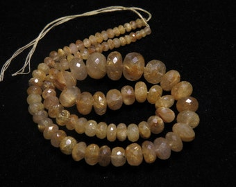 GOLDEN Rutilated Quartz - 210 Ctw - 16 inches - AAAAA - High Quality Natural -  Micro Faceted Rondelle Beads Huge size - 4 - 13 mm approx