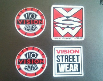 4 Original Vintage 1980's Vision Street Wear Skateboard Stickers 110%
