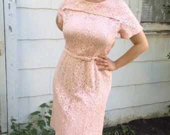 60s Pink Lace Dress 1960s Vintage XL Plus Size 42 Bust 36 Waist
