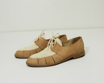 Vintage Tan Leather Oxfords with Cut Out Details Size 6.5 Womens Shoes