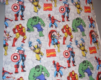 Marvel Comics Superheroes on gray -  Cotton Fabric - 15.5 inches wide and sold by the yard