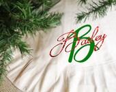 Personalized Chtristmas tree skirt, Christmas Tree skirt
