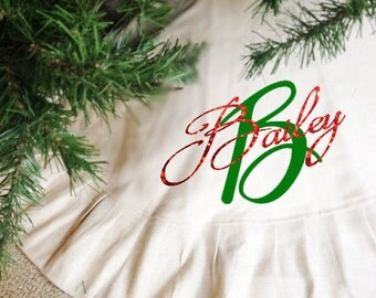 Personalized Chtristmas tree skirt, Christmas Tree skirt