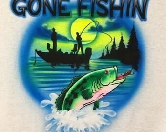 Gone Fishin Airbrush T-Shirt Fishing Fishermen Boat Big Fish Airbrushed Shirt
